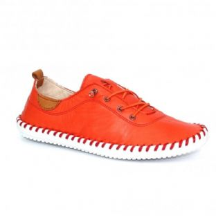 Lunar Womens St Ives Orange Leather Plimsoll Shoes
